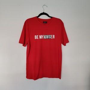 Zara man NWT red M be my adviser/lover tee shirt